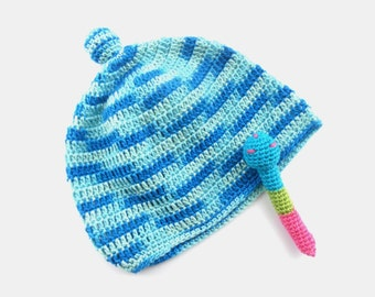 Crochet Baby boy hat Baby boys summer hat Blue hat with a knob Crochet baby hat Baby boy Shower gift
