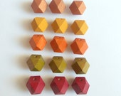 Autumn Leafs  Colors Geometric Hand Painted   Wood Beads 20mm Big Hole,Do it yourself Geometric Jewelry