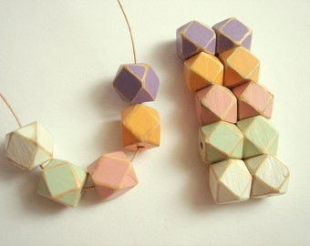 Shabby Pastel Geometric  Wood Beads,Old Look Hand Painted Geometric Beads,Do it Yourself Geometric necklace