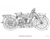 TRIUMPH Model R Fast Roadster 1923 -Original Handmade Drawing Print, 11.5x16 in. (29x41 cm), Limited Edition print Classic motorcycle