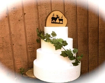 Woodland wedding cake topper rustic wooden buck and doe fall country weddings