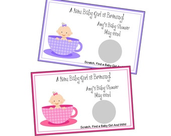 Personalized Baby Girl Is Brewing Baby Shower Scratch Off Game Set Of 6