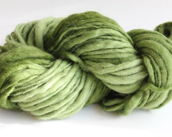 Avocado Green Color Hand Spun Hand Dyed Thick and Thin Bulky Weight Wool Yarn