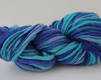 Turquoise/ Purple Multi Color Hand Spun, Hand Dyed  Thick and Thin   Super Chunky Wool Yarn