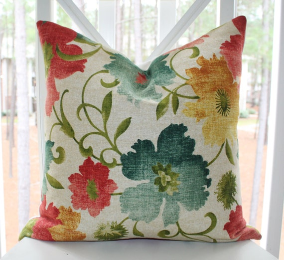 Decorative Designer Pillow 20 X 20 Teal Turquoise Blue Red
