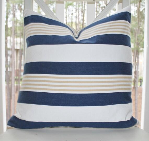 Designer Decorative Blue Pillow Blue White Beige Stripe