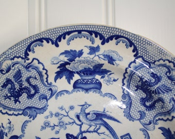 "Antique English ""Opaque China"" chinoiserie blue and white 1830 bird geometric plate"