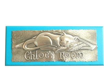 Bedroom Door Sign Sleeping Cat Personalised Door Plaque