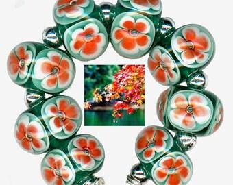 Handmade USA Lampwork Glass Beads Pink Orange Teal Hawaiian Plumeria Bead Set