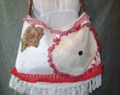Sale ,Vintage Chenille Bags and Purses, Shabby Crossbody Gypsy Hobo Carpetbag Ragbag Summer Tote