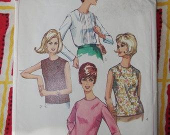 Vintage 1966 Simplicity Pattern: Misses  Blouse Set Pattern Sz 12