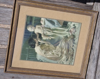 Vintage Picture: Mother and Baby at Bedtime U. S. P. & L. Company Print