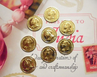 8 Vintage Goldplated 18mm Victorian Coin Charms