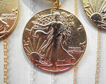 4 Goldplated Liberty Dollar Charms