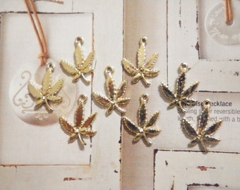 8 Silverplated Pot Leaf Charms