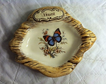 Beautiful Butterfly HAWAIIAN Souvenir Candy DISH by Treasure Craft USA