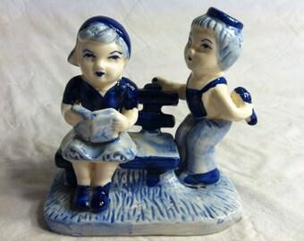 Hand Painted DELFT Blue Holland Boy & Girl VINTAGE FIGURINE