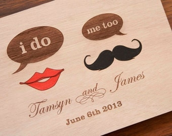 "Custom Wedding guest book wood rustic wedding guest book album bridal shower engagement anniversary- - ""Lips and Mustache"""