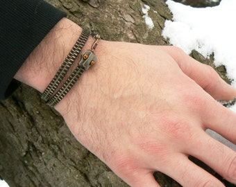 Steampunk Ouroboros Zipper Chain Bracelet - Snake Wrap Bracelet - Steampunk Jewelry
