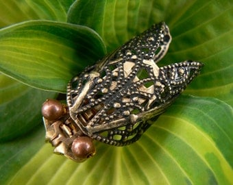 Steampunk Cicada Zipper Brooch - Zipper Pin - Steampunk Jewelry