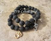 OM Bracelet. Lava Beaded Bracelet. Buddha Bracelet. OM Charm Bracelet. Yoga Bracelet. Buddha Jewelry. OM Jewelry. Yoga Jewelry