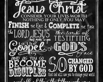 Chalkboard Scripture Art  - A Charge for the Believer  Chalkboard Style