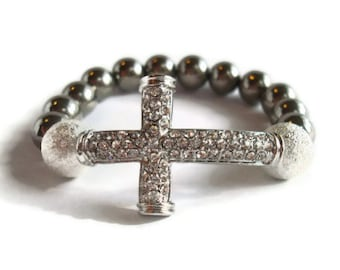 Chunky Sideways Rhinestone Cross Beaded Bracelet