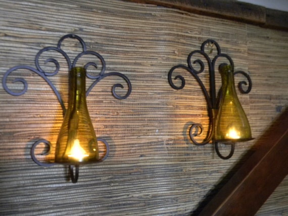 Stunning Iron and Wine Bottle Candle Wall Sconces