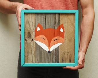 Fox Face Reclaimed Wood Painting