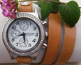 Handmade Bracelet Crystal Leather Wrap Watch. Women Watch Orlogin Style. FREE SHIPPING