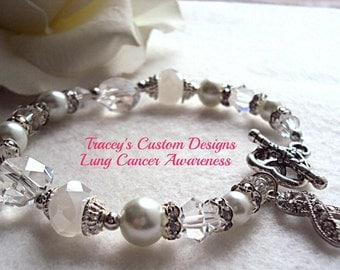 Beautiful LUNG CANCER AWARENESS Bracelet - Custom made just for you.