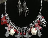 Rocker Chic Statement Necklace- Skulls- Crosses- Guitar- Bib Necklace-One of a Kind Original- Designs by Stalinda