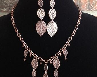 Copper Statement Necklace-Bib Necklace-Copper Leaf Necklace- Statement Necklace- One of a Kind Original- Designs by Stalinda