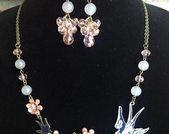 Bird Statement Necklace-Peach Statement Necklace-One of a Kind Original-Designs by Stalinda