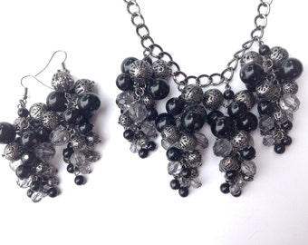 Chunky Statement Necklace-Statement Necklace-Bead Cluster Necklace-One of a Kind-Handmade-Designs by Stalinda