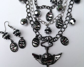 Zebra Statement Necklace-Key-Angel Wings-Layered Necklace-One of a Kind-Handmade-Designs by Stalinda
