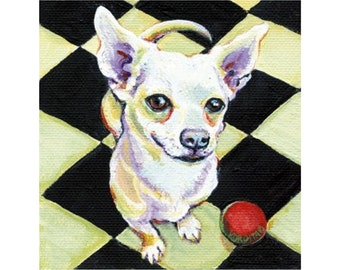 White Chihuahua Checkered Floor Red Ball 8x8 Glicee Print from original painting - On Ready - Korpita ebsq