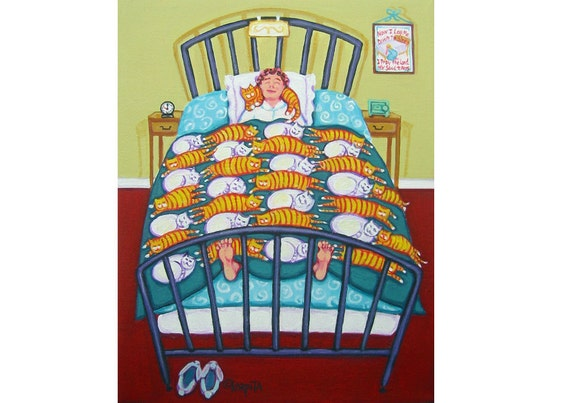 Whimsical Cat Folk Art - White and Orange Cats Sleeping with crazy cat lady woman 8x10 Glicee Print from Painting - Cat Quilt - Korpita ebsq