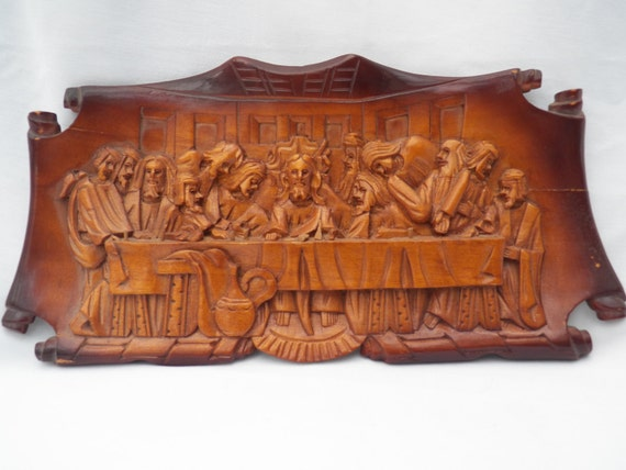 Vintage Hand Carved Wood Last Supper Three Dimensional Wall