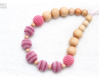 Breastfeeding Juniper mom necklace - Nursing/teething necklace in pink, old pink, juniper beads