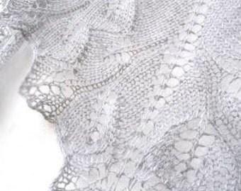 Silver handknit lace scarf - shawl.