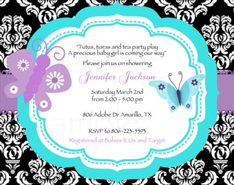 Damask Teal/Purple Butterfly Baby Shower Printable Invitation & Tags