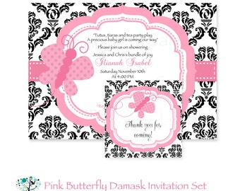 Damask Pink Butterfly Baby Shower Printable Invitation & Tag Set
