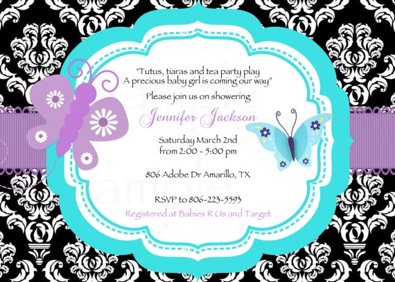 baby shower diaper raffle ticket damask pink butterfly, Baby shower invitations