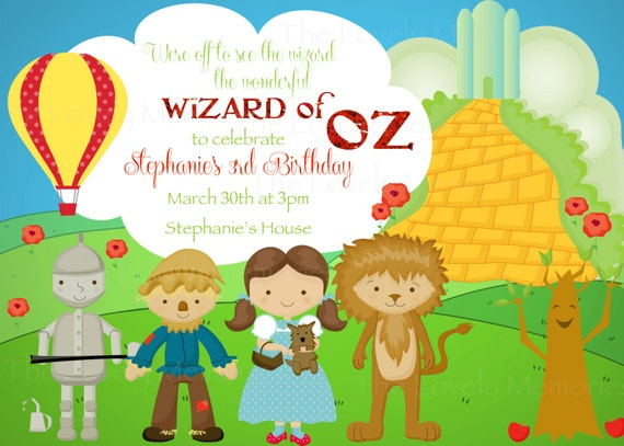Items similar to Wizard of Oz Personalized Printable Invitation – Wizard of Oz Birthday Party Invitations