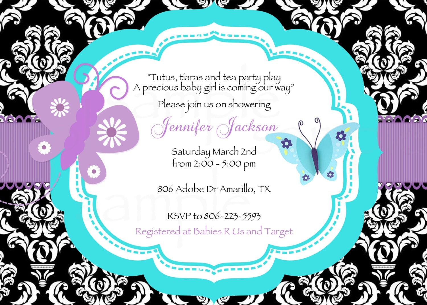 damask teal purple butterfly baby shower printable invitation