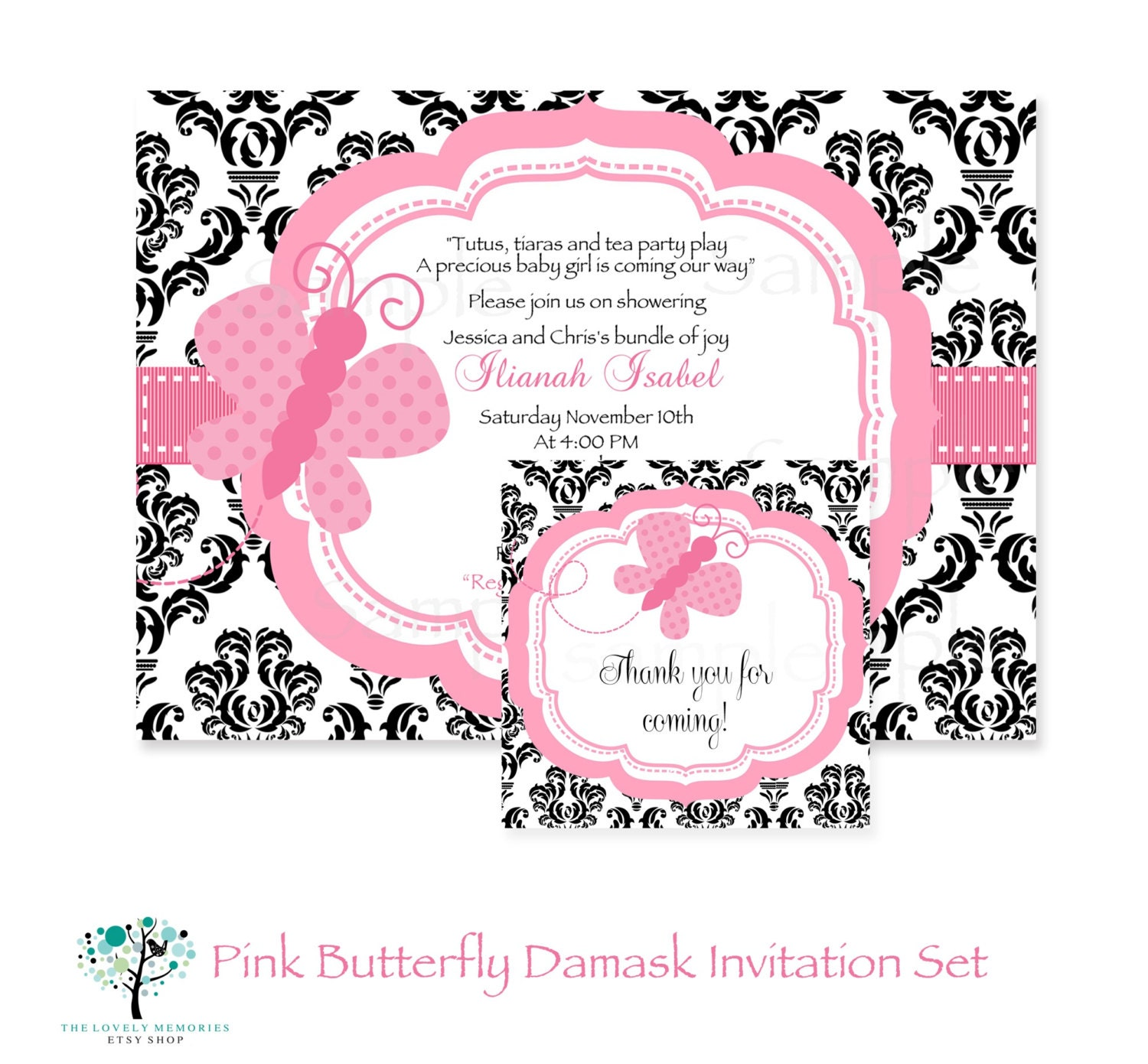 Butterfly Baby Shower Invites: Damask Pink Butterfly Baby Shower Printable Invitation & Tag