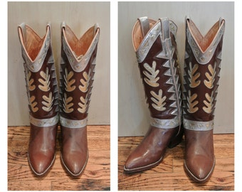 Size 6 1980s Leather Cowboy Boots Brown and Metallic Tall Riding Boots Beverly Feldman Designed Cowboy Boots