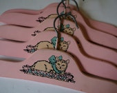 Vintage Wood Pink Baby Hangers Clothing 5