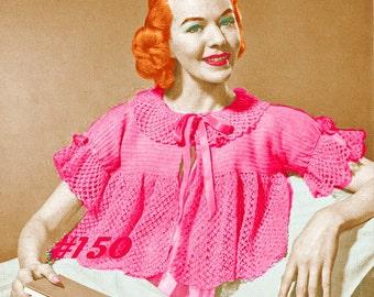 A BEST Vintage 1950s Lace Bed Jacket Sweater 150 PDF Digital Crochet Pattern